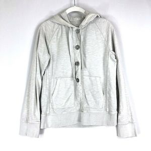 J Crew Distressed Washed Weekend Hoodie Gray